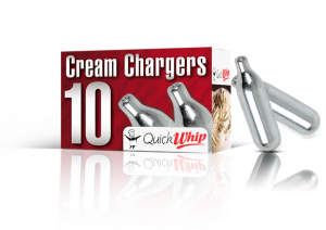 A box of 10 Quick Whip cream chargers